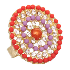 Orange Purple Circular Beaded Adjustable Ring