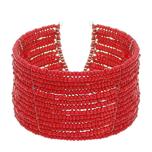 Coral Red Beaded Sequin Coil Cuff Bracelet