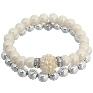Cream Disco Fireball Beaded Stretch Bracelet Set