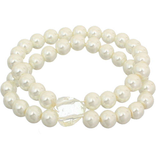 Cream Heart Beaded Stretch Bracelet