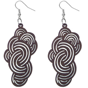 Dark Brown Swirly Cloud Wooden Earrings