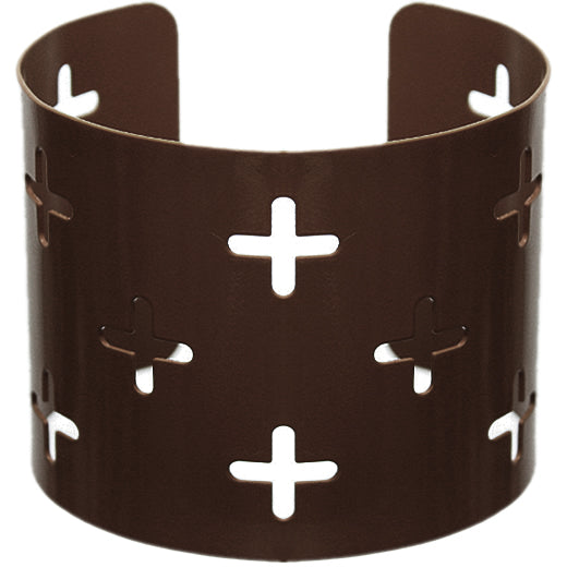 Dark Brown Cutout Cross Metal Cuff Bracelet