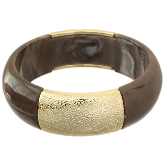 Dark Brown Frosted Resin Bangle Bracelet