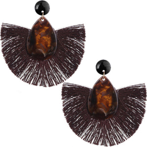Brown Oval Fan Tassel Earrings