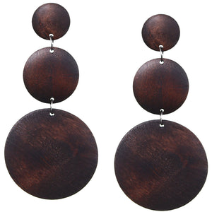 Dark Brown Triple Circular Cascade Wooden Earrings