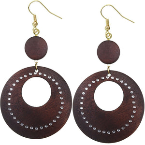 Dark Brown Wooden Gemstone Drop Hoop Earrings