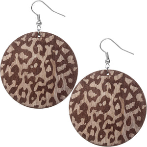 Dark Brown Cheetah Print Wooden Earrings
