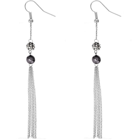 Dark Gray Beaded Fireball Chain Earrings