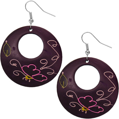 Purple Coconut Hand Painted Butterfly Earrings