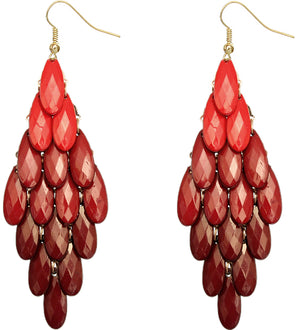 Red Two Tone Faceted Dangle Earrings