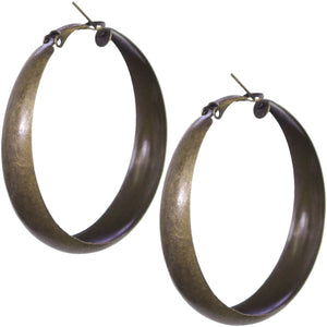 Antique Gold Metal Hoop Earrings