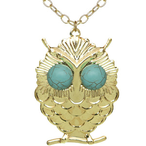 Gold Beaded Eyes Owl Pendant Necklace