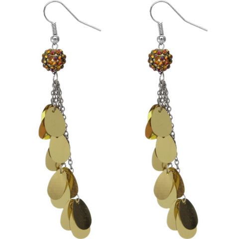 Gold Beaded Fireball Confetti Chain Earrings