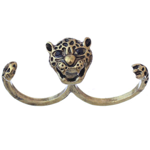 Antique Gold Cheetah Face Double Cuff Finger Ring
