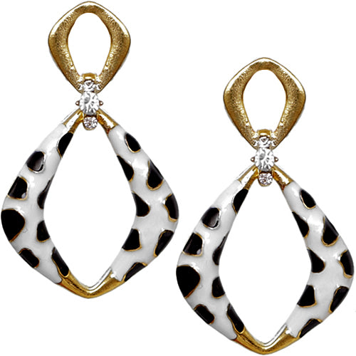 Gold Black Rhinestone Cheetah Post Earrings