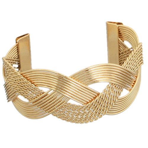 Gold Braided Mesh Cuff Bracelet