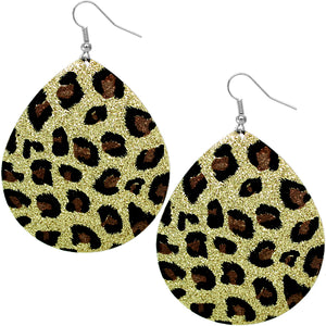 Gold Glitter Spotted Teardrop Earrings