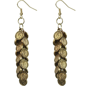 Gold Cascade Mini Coin Drop Earrings