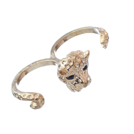 Gold Cheetah Face Double Cuff Finger Ring