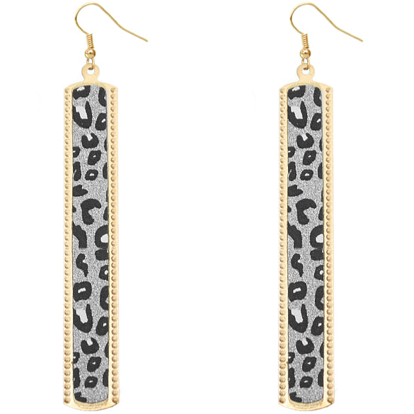 Silver Cheetah Glitter Stick Dangle Earrings