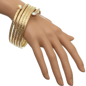 Gold Coil Wrap Around Bangle Bracelet