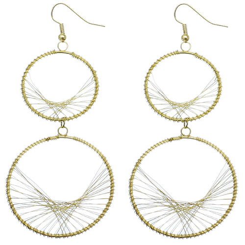 Gold Spiraled Wirework Double Hoop Dangle Earrings