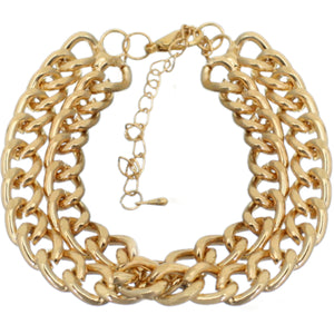Gold Double Row Chain Link Bracelet