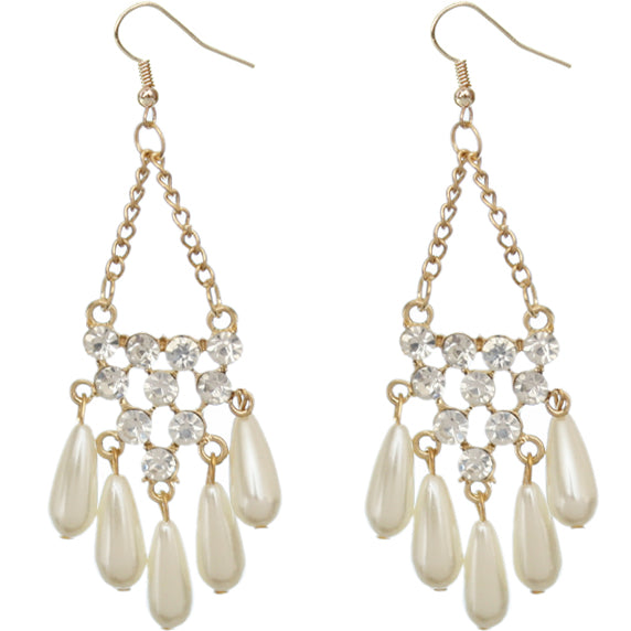 Gold Faux Pearl Gemstone Chain Earrings