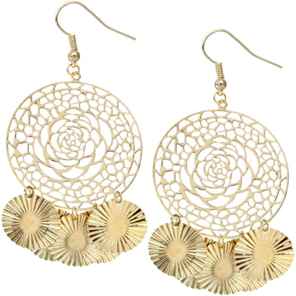 Gold Big Sunburst Earrings