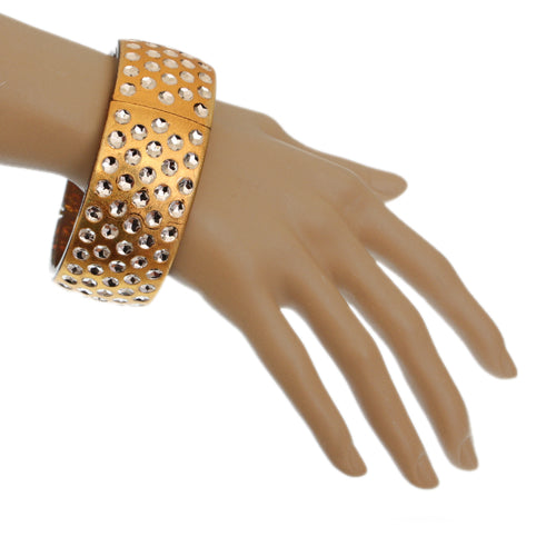 Gold Iridescent Five Row Hinged Bracelet