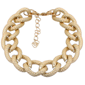 Gold Frost Textured Chain Link Bracelet
