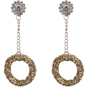 Gold Crystal Confetti Drop Chain Earrings