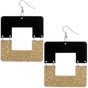 Gold Black Square Wooden Glitter Link Earrings