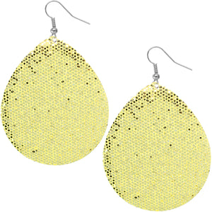 Gold Glitter Teardrop Earrings