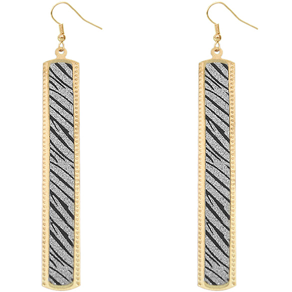Silver Zebra Glitter Stick Dangle Earrings