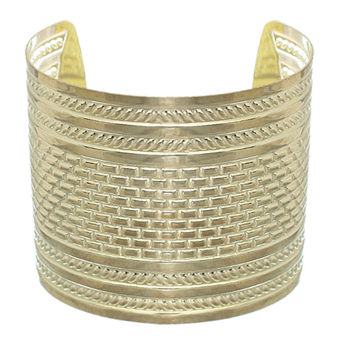 Gold Hammered Metal Cut Bracelet
