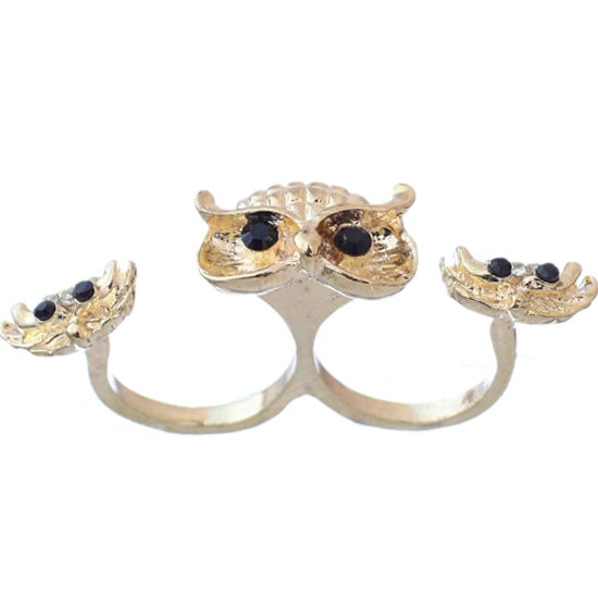 Gold Hoot Owl Double Cuff Finger Ring