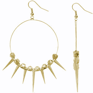 Gold 3D Cube Spike Hoop Earrings