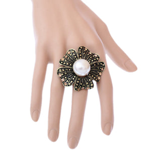 Gold Large Faux Pearl Floral Adjustable Ring