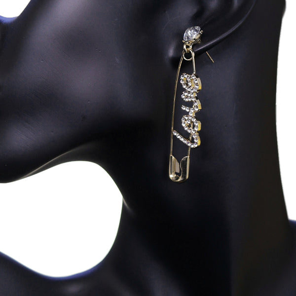 Gold Large Love Safety Pin Earrings