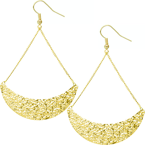 Gold Hammered Crescent Drop Chain Earrings