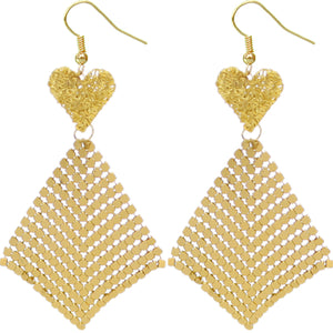 Gold Heart Mesh Dangle Earrings