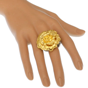 Gold Flower Metal Stretch Ring