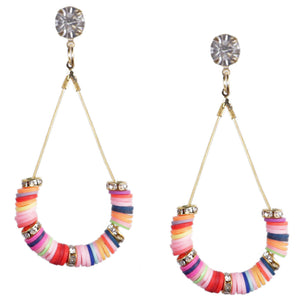 Gold Multicolor Beaded Teardrop Earrings