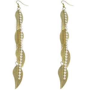 Gold Rhinestone Drop Chain Leaf Earrings