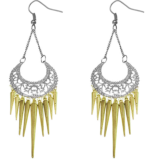 Gold Spiked Drop Chain Dangle Earrings