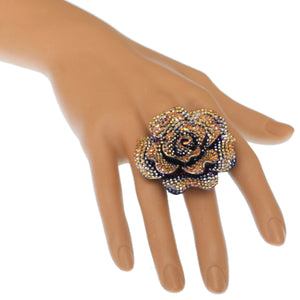 Bronze Gold Large Sparkle Flower Stretch Ring