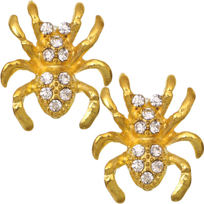 Gold Spider Rhinestone Post Earrings