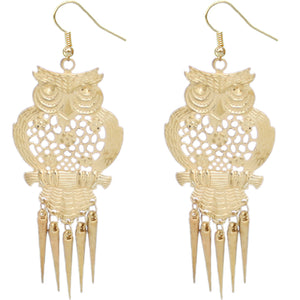 Gold Long Spike Hoot Owl Earrings