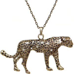 Gold Spotted Cheetah Charm Necklace